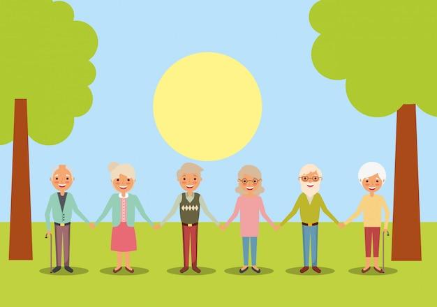 Mensen grootouders karakters Premium Vector