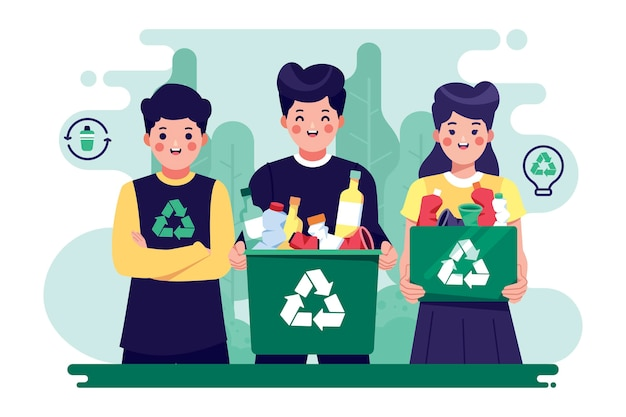 Mensen helpen de planeet en recyclen Premium Vector