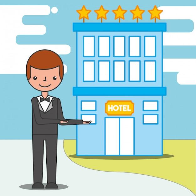 Mensen hotelservice Premium Vector