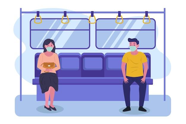 Mensen houden afstand in de metro Gratis Vector