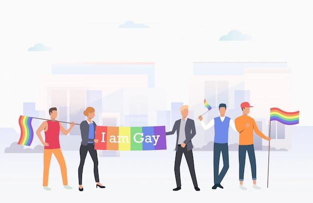 Mensen houden dat ik ben gay banner in de stad Gratis Vector