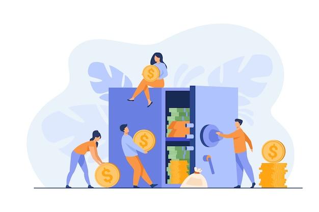 Mensen houden geld op de bank en beschermen spaargeld. vectorillustratie voor veilige financiën, aanbetaling, investeringen, veiligheidsconcept Gratis Vector