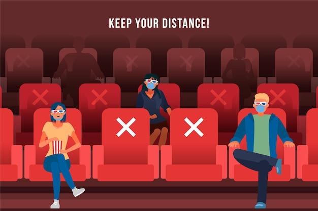 Mensen houden sociale afstand in de bioscoop Gratis Vector