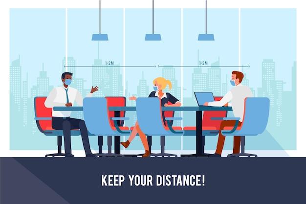 Mensen houden sociale afstand in zakelijke bijeenkomst Gratis Vector