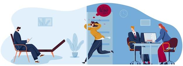 Mensen in angst paniek platte concept vectorillustratie. cartoon paniekerig benadrukt vrouw karakter loopt naar psychotherapeut Premium Vector