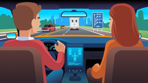 Mensen in auto-interieur. reis bestuurder navigatie stoel dating familie passagiers taxi veiligheid snelheid weg, vlakke afbeelding Premium Vector
