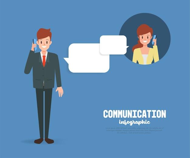Mensen in communicatie met een mobiele telefoon. Premium Vector