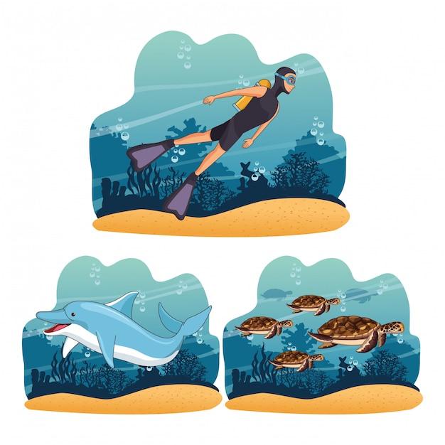 Mensen in de zee duiken Premium Vector