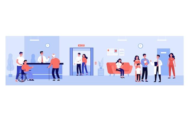 Mensen in de ziekenhuiszaal Premium Vector