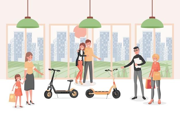 Mensen in elektrische scooters winkelen vlakke afbeelding. mensen die kiezen voor modern, milieuvriendelijk persoonlijk vervoer. Premium Vector