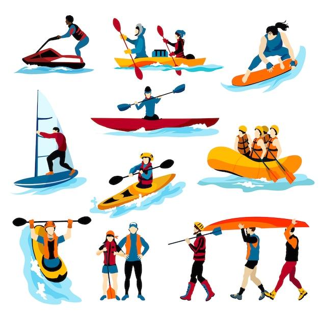 Mensen in extreme watersporten kleurenpictogrammen Gratis Vector