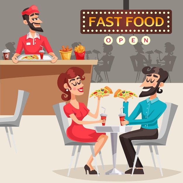 Mensen in fast food restaurant illustratie Gratis Vector