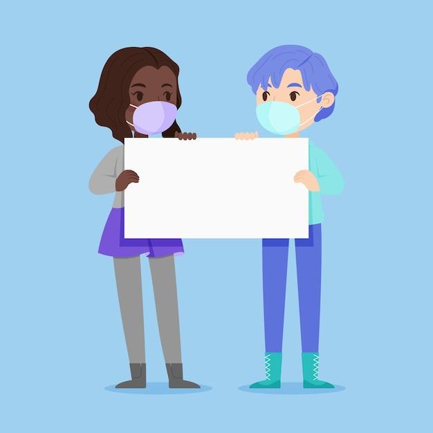 Mensen in gezichtsmaskers met geïllustreerde plakkaten Gratis Vector