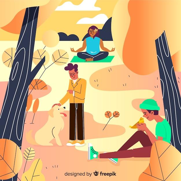 Mensen in het najaar park illustratie Gratis Vector