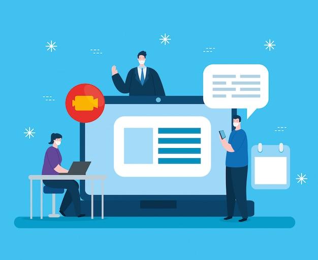 Mensen in het onderwijs online met laptop illustratieontwerp Gratis Vector