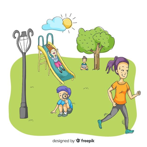 Mensen in het park met kinderen Gratis Vector
