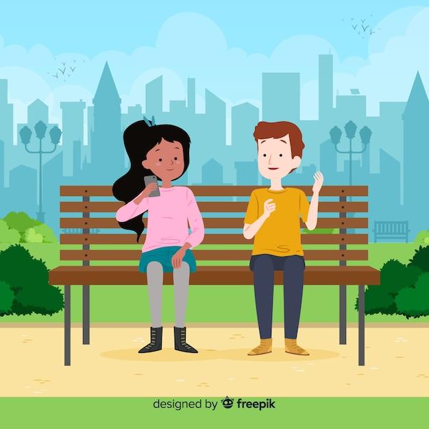 Mensen in het park tijdens hun vrije tijd Gratis Vector
