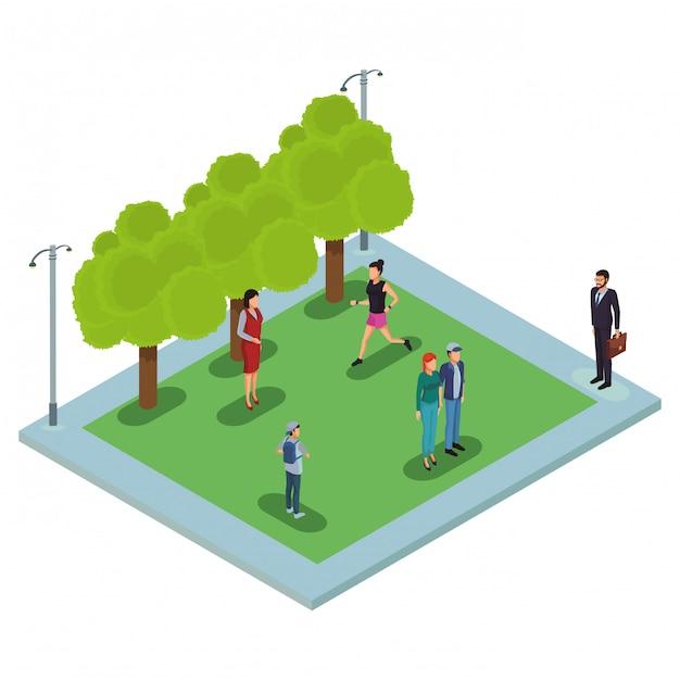Mensen in het park Premium Vector