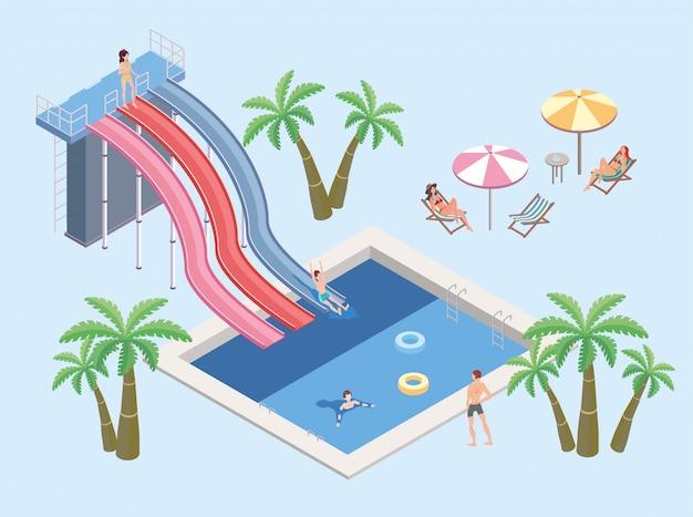 Mensen in het waterpark, ontspannen bij het zwembad. zwembad en glijbanen. parasols, palmbomen en tafels met ligstoelen. isometrische illustratie. Premium Vector