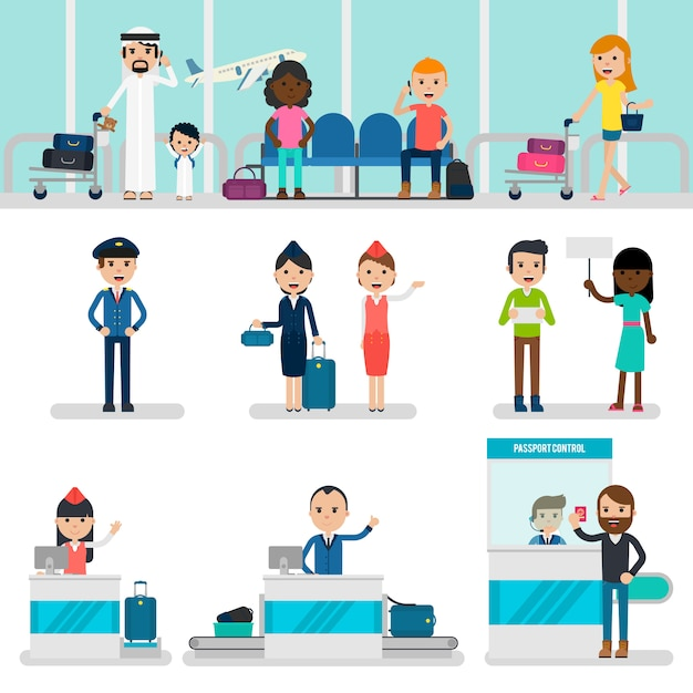 Mensen in luchthaven set Gratis Vector