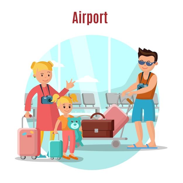 Mensen in luchthavenconcept Gratis Vector