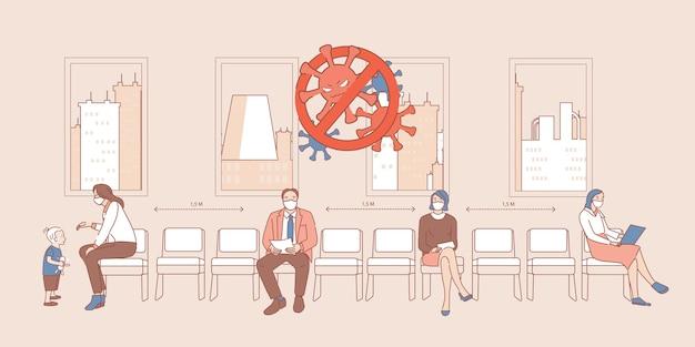 Mensen in medische gezichtsmaskers zitten in de rij en houden een veilige sociale afstand cartoon overzicht illustratie. Premium Vector