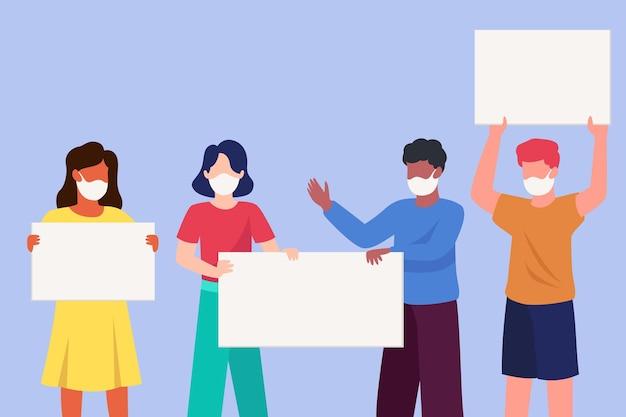 Mensen in medische maskers met geïllustreerde borden Gratis Vector