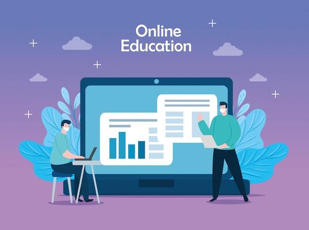 Mensen in onderwijs online met het ontwerp van de pictogrammenillustratie Gratis Vector