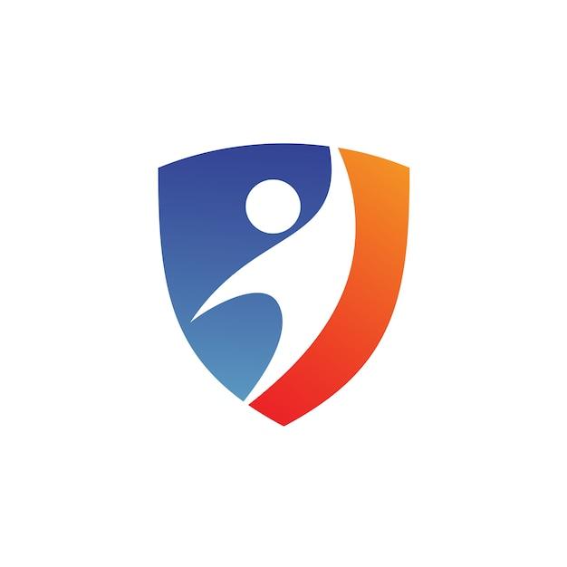 Mensen in shield-logo Premium Vector