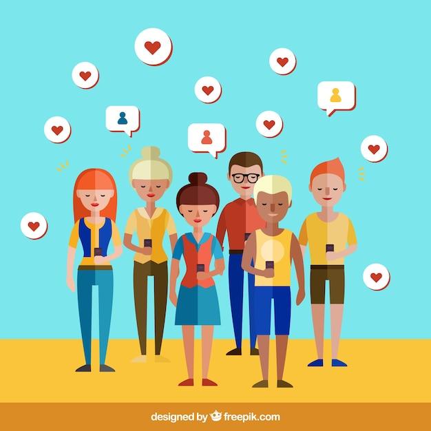 Mensen in sociale netwerken Gratis Vector