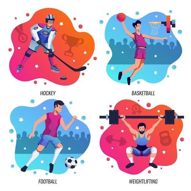 Mensen in sport 2x2 ontwerpconcept Gratis Vector