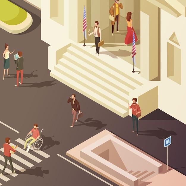 Mensen in straat dichtbij overheid die isometrische vectorillustratie bouwen Gratis Vector