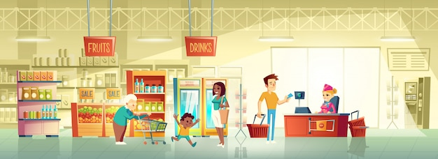 Mensen in supermarkt interieur cartoon vector Gratis Vector