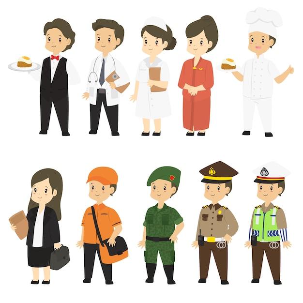 Mensen in verschillende beroepen vector set Premium Vector