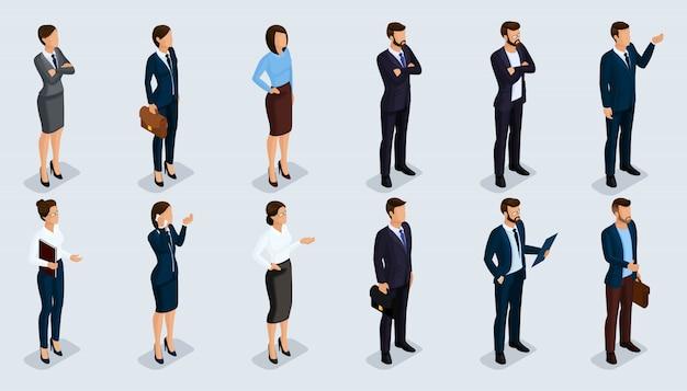 Mensen isometrische 3d, isometrische zakenlieden en zakelijke vrouw zakelijke kleding menselijke beweging Premium Vector