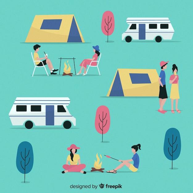 Mensen kamperen collectie plat ontwerp Gratis Vector