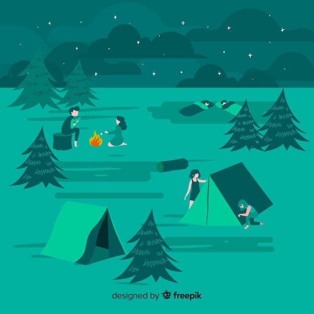 Mensen kamperen illustratie plat ontwerp Gratis Vector