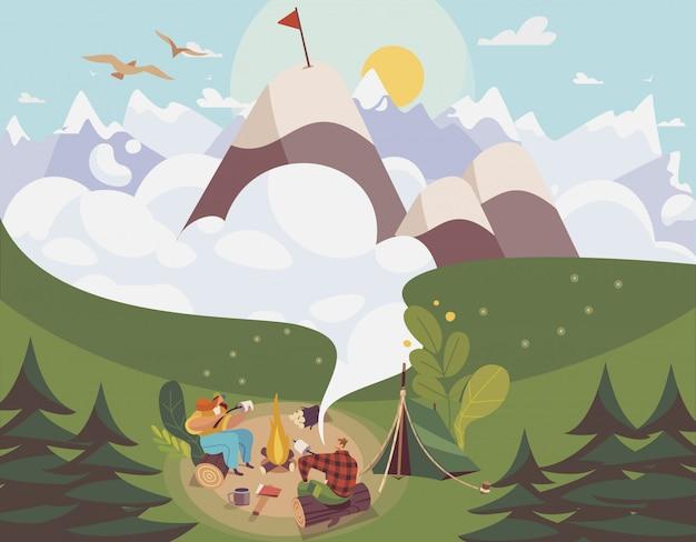 Mensen kamperen openlucht, man en vrouwen planningsroute naar bergbovenkant, illustratie Premium Vector