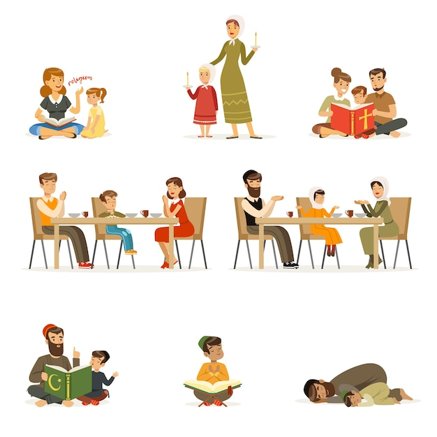 Mensen karakters van verschillende religies ingesteld. gezinnen in klederdracht die bidden, heilige boeken lezen, kinderen onderwijzen, avondeten. joden, katholieken, moslims religieuze activiteiten. tekenfilm Premium Vector
