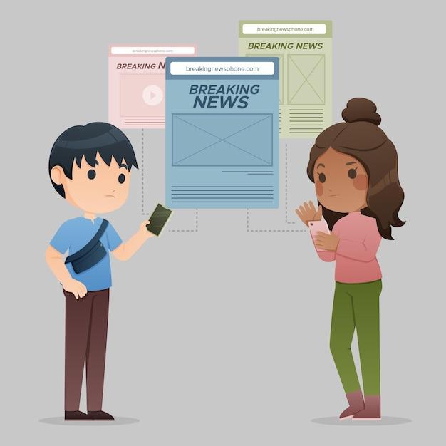 Mensen kijken naar het laatste nieuws aan de telefoon Gratis Vector