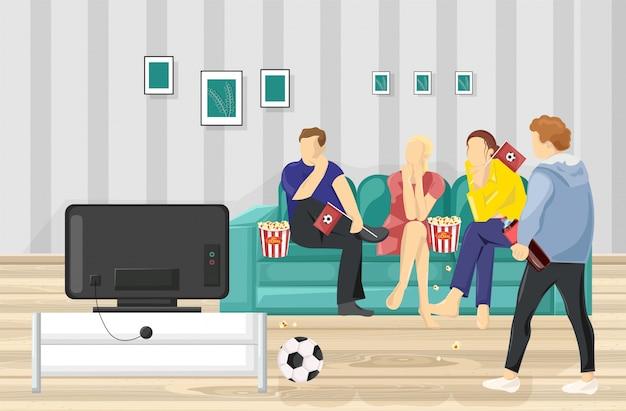 Mensen kijken naar voetbal op tv Premium Vector