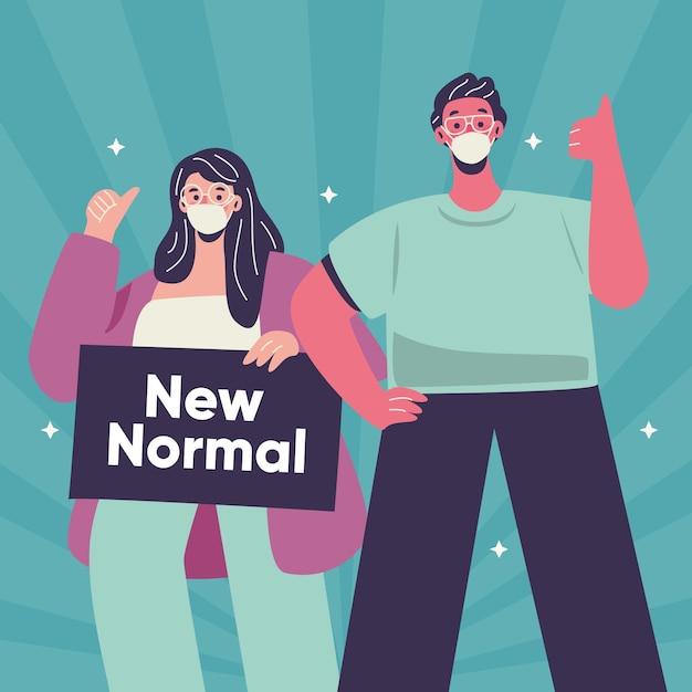 Mensen kijken op een positieve manier naar het nieuwe normaal Gratis Vector