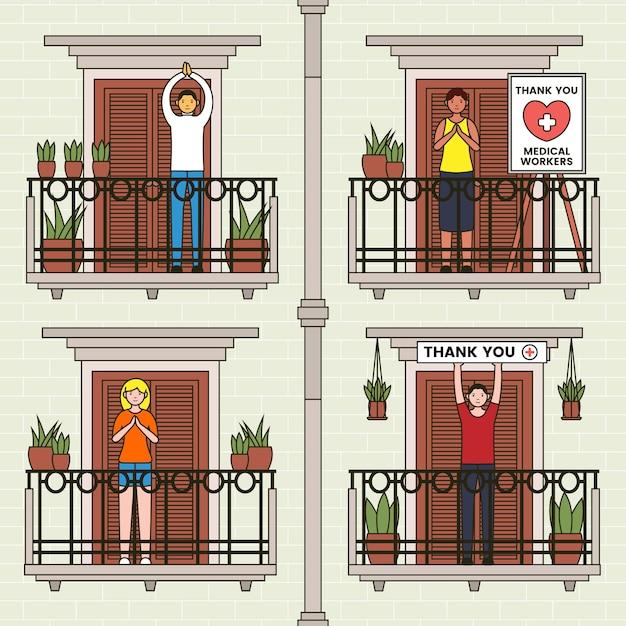 Mensen klappen op balkons Gratis Vector
