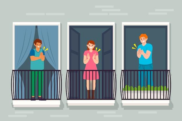 Mensen klappen samen op balkons Gratis Vector