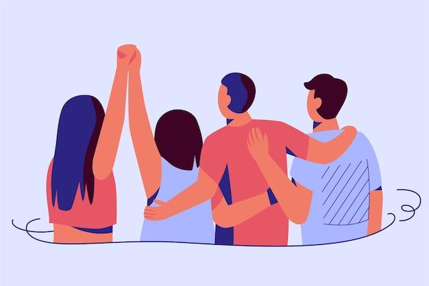 Mensen knuffelen en hand in hand jeugd dag evenement Gratis Vector