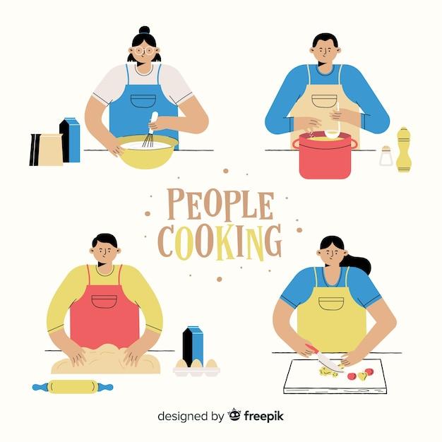 Mensen koken collectie Gratis Vector