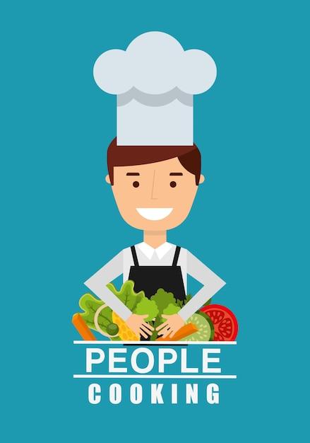 Mensen koken ontwerp Gratis Vector