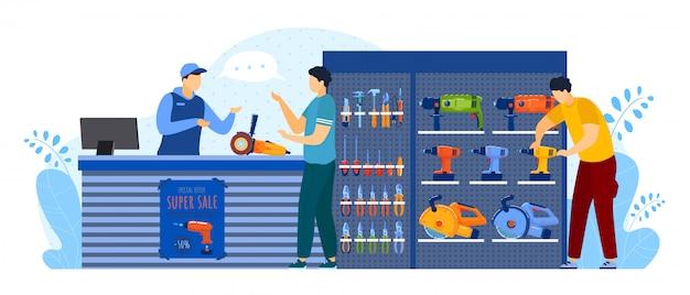 Mensen kopen gereedschapswinkel illustratie, cartoon platte man koper klant tekens kopen apparatuur voor gereedschapskist van huis reparatie Premium Vector
