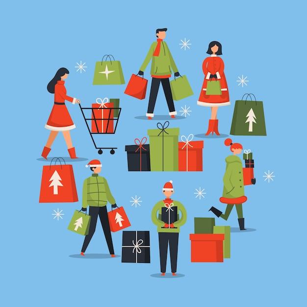 Mensen kopen kerstcadeaus pack Gratis Vector