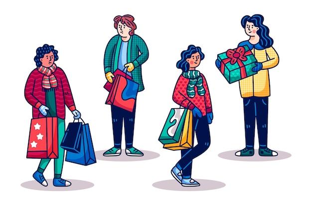 Mensen kopen kerstcadeaus Gratis Vector